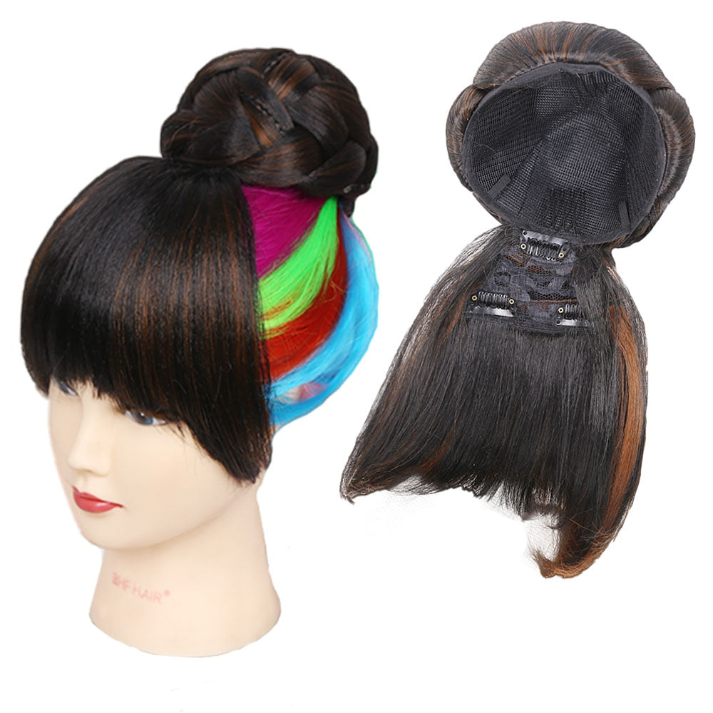 Amir Synthetic Hair Buns with bangs Clip-in Chignons Heat Resistant Fiber Black Burgundy colors Hair Piece Ponytail For Women