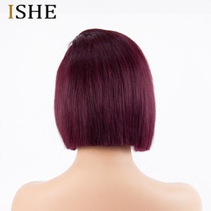 Straight Red Short Bob Wigs 13x6 Lace Front Human Hair Wig 99J Burgundy Ombre Glueless