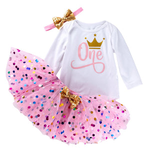 New Pattern Pink tutu skirts Crown Long sleeves Rompers Baby Clothing Set Infant Girl Clothes Cotton  Headband 3pcs