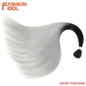 FASHION IDOL Straight Hair Bundles With Closure Synthetic Yaki Hair Weft 22inch 4pcs/Pack Ombre Silver Grey Hair Weaving Bundles