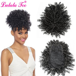 Synthetic Fake Afro Kinky Curly Drawstring Ponytail With Bangs Wig Hair Bun Chignon Clip in Pony Tail Hair Extension