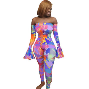 Echoine Print Flare Sleeve  Jumpsuit Women Skinny Sexy Off Shoulder Slash Neck Playsuit Bodysuit Party Club Outfit Rompers 2020