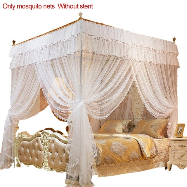 Four-Cornered Mosquito Net Pink Bed Canopy Princess Queen Mosquito Bedding Net Bed Tent Floor-Length Curtain 2mx2mx1.5m
