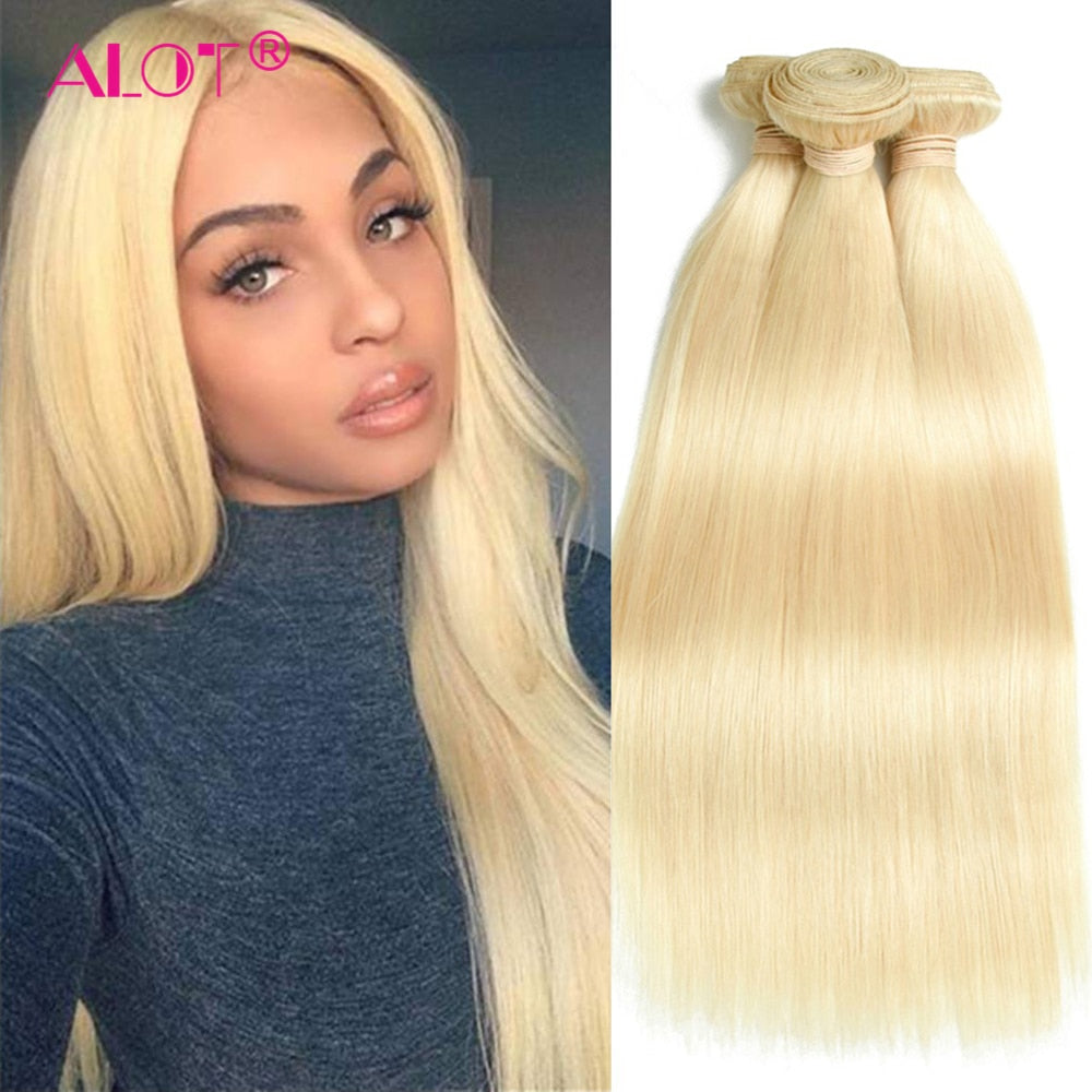 30 32 Inch 613 Blonde Bundles Human Hair Weave Straight Hair Bundles Brazilian Hair Weave Bundles 100% Human Hair Extension Remy