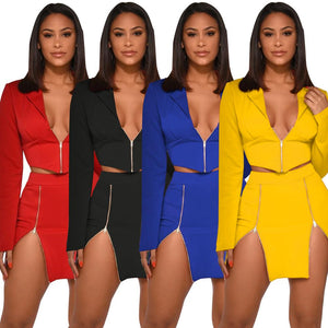 2 Piece Female Tracksuit Long Sleeve Crop Top And Skirt Set Elegant Matching Sets Evening Party Suit Outfits Plus Size