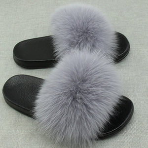 Summer Women Fox Fur Slippers Really Fox Hair Flip Flops Fluffy Plush Non Slip Indoor Slipper High Quality Beach Sandals
