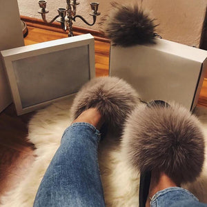Fur Slides Women Fox Fur Slippers Winter Women Shoes Luxury Furry Slippers Home Sandals Cute Raccoon Hair Flip Flops Plus Size