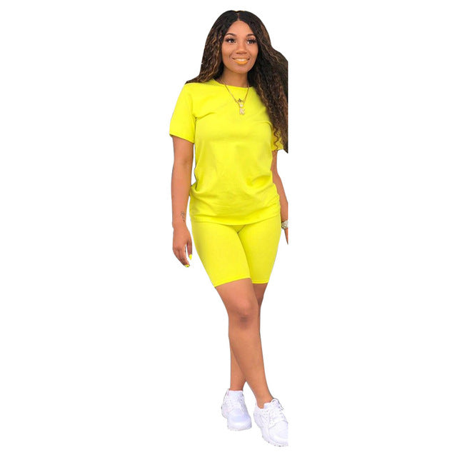 Women Two Piece Set Summer Tracksuit Casual Solid Short Sleeve Top And Shors  Femme  Sportswear T-Shirt Matching Set Plus Size