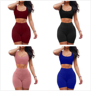 Sexy Shorts Two Piece Set Crop Tops and Biker Shorts Blue Pink Black Bodycon Matching Sets Summer Tracksuits Clothes for Women