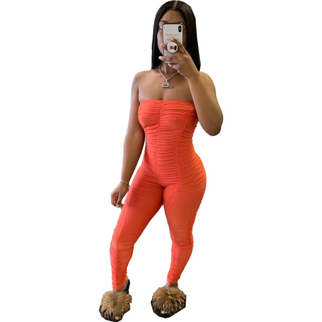 Neon Rompers Bodycon Tube Jumpsuit Women Summer Off Shoulder Backless Body Romper Overalls Ruched Stacked Leggings Pants Outfits