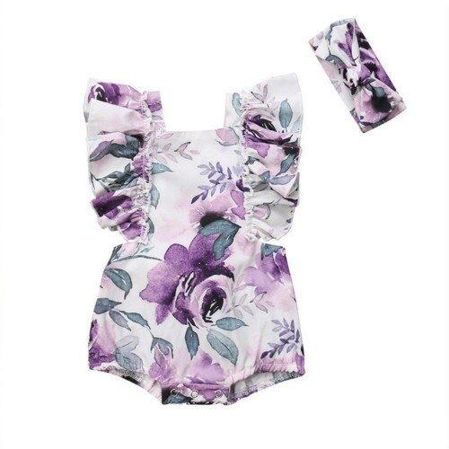 Cute Newborn Baby Girl Ruffles Sleeveless Backless Floral Romper Jumpsuit Headband 2PCS Outfits Baby Clothes