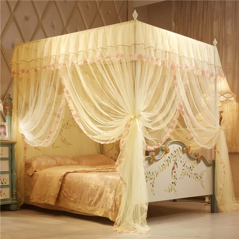 4 Posters Corners Bed Canopy Princess Queen 150*200 mm Mosquito Bedding Net Bed Tent Floor-Length Curtain #5O