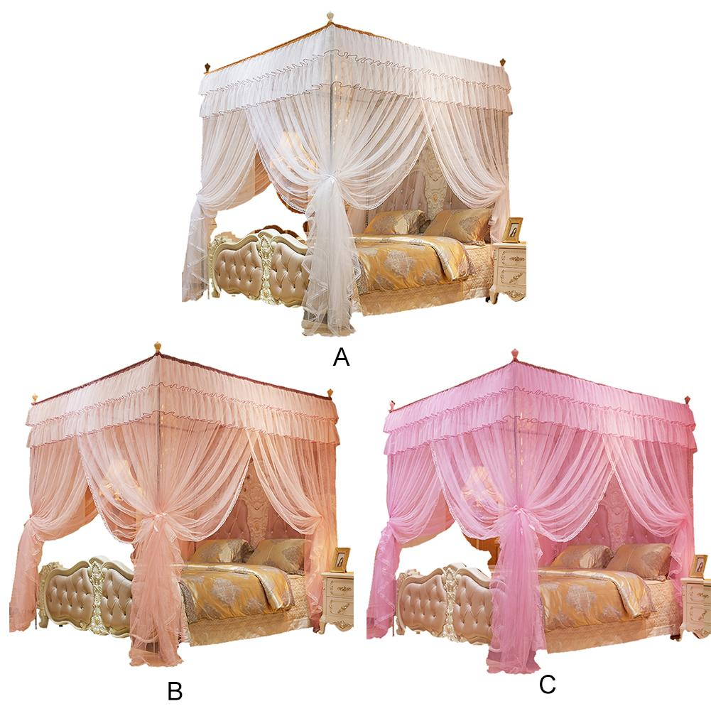 1.5*2 m 4 Posters Pink Bed Canopy Princess Queen Mosquito Bedding Net Bed Tent Four Corners Floor-Length Curtain