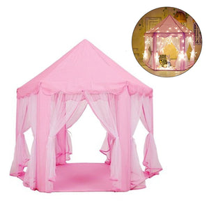 Princess Pink Castle Portable Folding Children's Tent Mosquito Net Kids Play House for Outdoor Indoor Beach Star Curtain Light