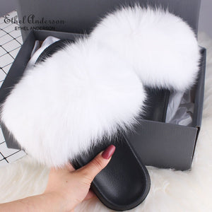 ETHEL ANDERSON Fur Slippers Women Real Fox Fur Slides Furry Flat Sandals Female Cute Fluffy Shoes