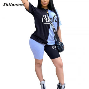 Plus Size Casual Tracksuit For Women Pink Letter Print Patchwork Tshirts & Bodycon Shorts Suit Sport 2 Piece Outfits Streetwear