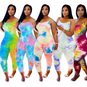 Sexy Tie Dye Jumpsuit Women Bodycon Romper Elegant Backless Slim Long Pant Playsuit Casual Overalls Female Summer Clothing