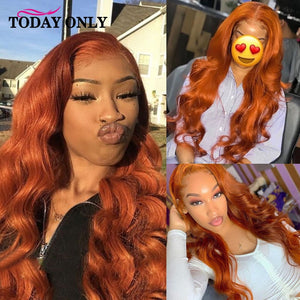 Glueless Brazilian Body Wave Wig 13x4 Colored Human Hair Wigs Ombre Black Burgundy Blonde Ginger Lace Front Wig Natural Remy