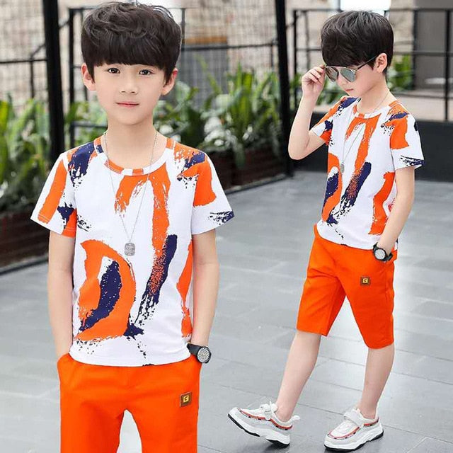 Children Clothing Summer Boys Clothes 2pcs Outfits Kids Clothes For Boys Sport Suit Teen Boys Clothing Sets 4 6 8 10 12 Years