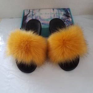 Faux Fur Slides Women Furry Fox Fur Sandals For Woman Female Indoor Shoes Fluffy Plush With Fur Slippers Flip Flops Size 36-45