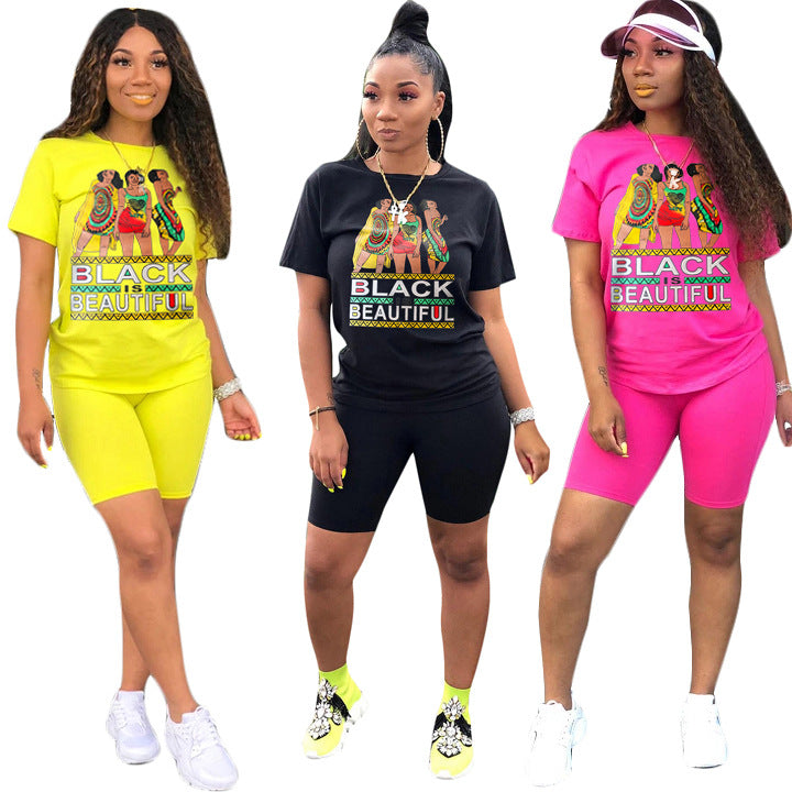 Women Print Two Piece Set Biker Shorts 2 Piece Set Pink Set Outfits Sweat Suit Casual Tracksuit Summer Clothes Plus Size