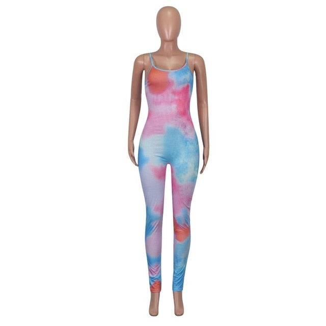 Tie Dye Print Bodycon Jumpsuit Women Summer 2020 Sexy Sportswear Fitness Sleeveless Leggings Rompers Womens Jumpsuit Club Outfit