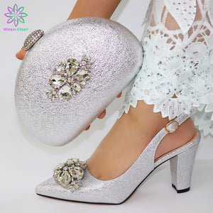 New Italian Silver Color Shoes And Purse Set Nigerian Decorated With Rhinestone Women Party Shoes And Bag Set