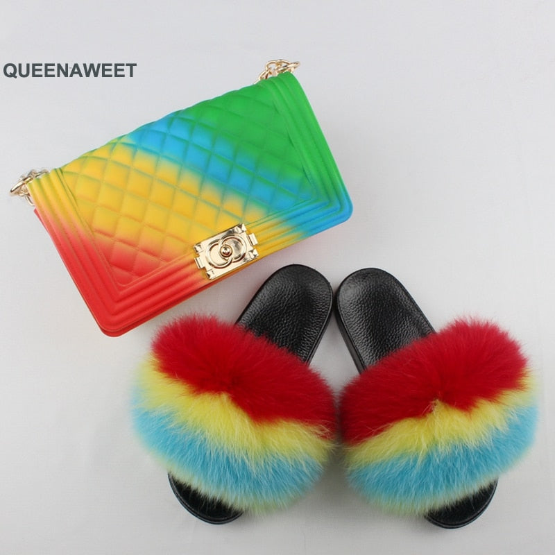 Summer New Real Fox Fur Slides Women Shoes Home Indoor Jelly Color Bags Sets Fashion Fox Furry Slippers Female Shoulder Purses