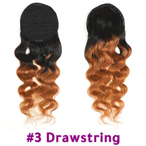 Ponytail Human Hair Brazilian Body Wave Drawstring Ponytail For Women Remy Clip In Extensions Wrap Around Pony Tail Racily Hair
