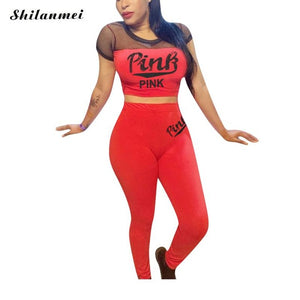 PINK Letter Print Sexy 2 Piece Set Women casual Outfits Mesh Hollow Crop Tops Bodycon Pants Set Ladies Tracksuit Matching Set