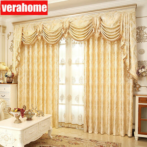 1PC European Luxury Blackout  Gold windows treatment curtains for living room bedroom flower tulle valance