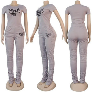 New Pink Letter Print Sexy Club Outfits 2 Two Piece Set Women Bodycon Crop Top Ruched Stacked Pants Women Ladies Matching Sets