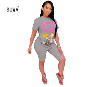 Cartoon Funny Tracksuit Women 2 Piece Outfits Festival Cotton Clothing Short Sleeve Top + Biker Shorts Sweat Suits Two Piece Set