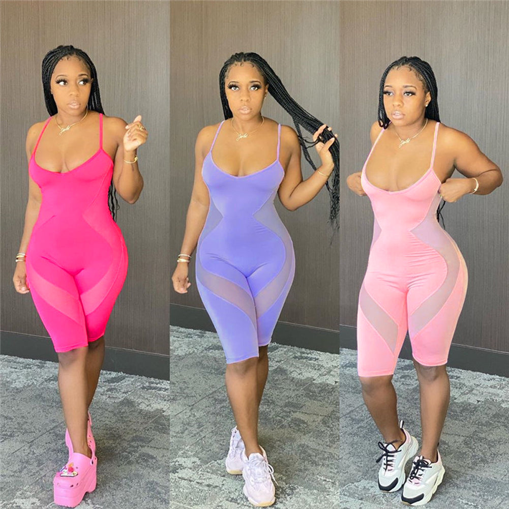 Mesh Sheer Patchwork See Through Jumpsuit Playsuit 2020 Sexy Women S;eeveless Strap Bodycon Slim Rompers Summer Shorts Jumpsuit