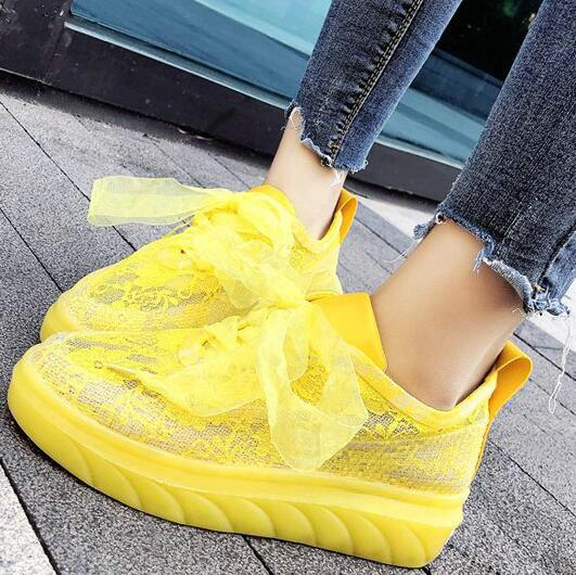 Summer Fashion Women Sneakers Yellow Platform Casual Shoes Woman Breathable Mesh Lace Up White Transparent Sneakers Ladies AS-81