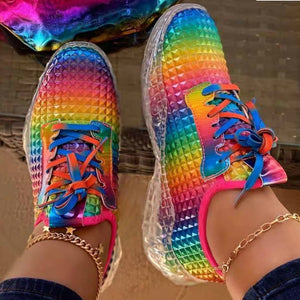 Rainbow Women Sneaker Fretwork Flat Heel Platform Thick Transparent Sole Lace Up Sport Casual Shoes Ladies Female Fashion 2020