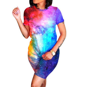 Womens 2 Pieces Sports Outfit Short Sleeve T-Shirt Tops Bodycon Pants Set Tie Dye Tracksuit Sportswear Athletic Tracksuits Set
