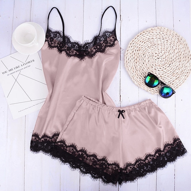 Separate 2pcs Lace Sleepwear Women Beach Dress Lingerie Night Short Sleeveless Ladies Satin Nightgown Through La Sleepwear