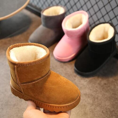 2020 KIDS Boys Girls Snow Boots Shoes Winter Warm Plush Inside Cow Muscle Sole Child Snow Boots Shoes For Baby Girls Boys Boots