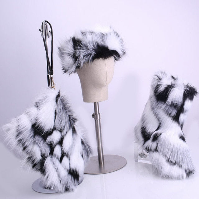 Winter Women Fox Fur Snow Boots Bag Headband Set Fluffy Faux Fur Botas Mujer Luxury Furry Plush Boots Ladies Warm Fox Fur Shoes