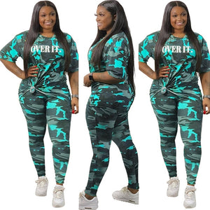 Wholesale Clothing Women Sets Camo Short Sleeve Top and Pants Set Leggings Two Piece Track Suit Plus Size Outfits Dropshipping