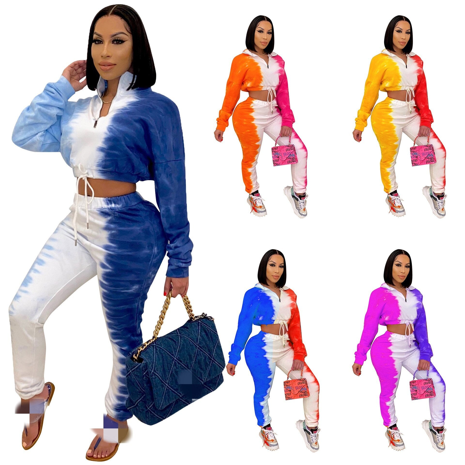 2021 Autumn Long Sleeve Women Two Pieces Sets Gradient Tie-Dye Printing Stand Neck Zipper Short Tops High Waist Pants Tracksuits