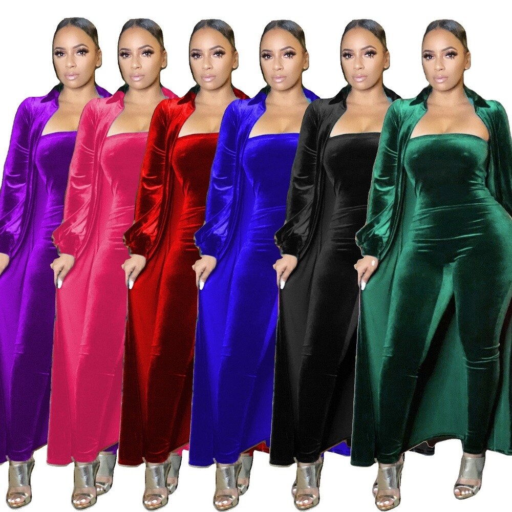 Sexy Strapless Jumpsuit Long Sleeve Coat Fleece 2 Pieces Sets Winter Spring Women Outerwear Fashion Outfit Laides Clothes 2021