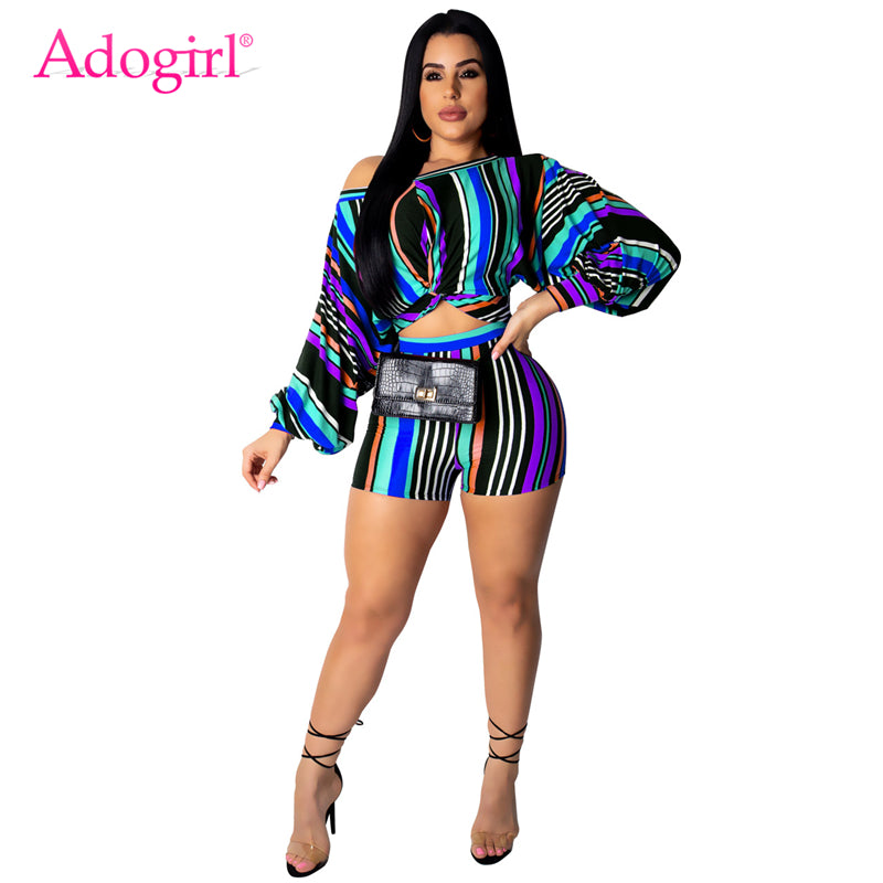 Adogirl Plus Size S-3XL Colorful Stripe Women Casual Two Piece Set Off Shoulder Puff Sleeve Twist Loose Crop Top + Summer Shorts