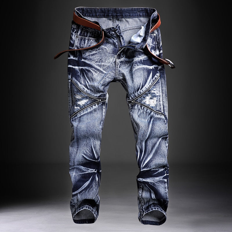 Jeans Men Male Jean Homme Mens Men'S Classic Fashions Pants Denim Biker Pant Slim Fit Baggy Straight Trousers Designer Ripped