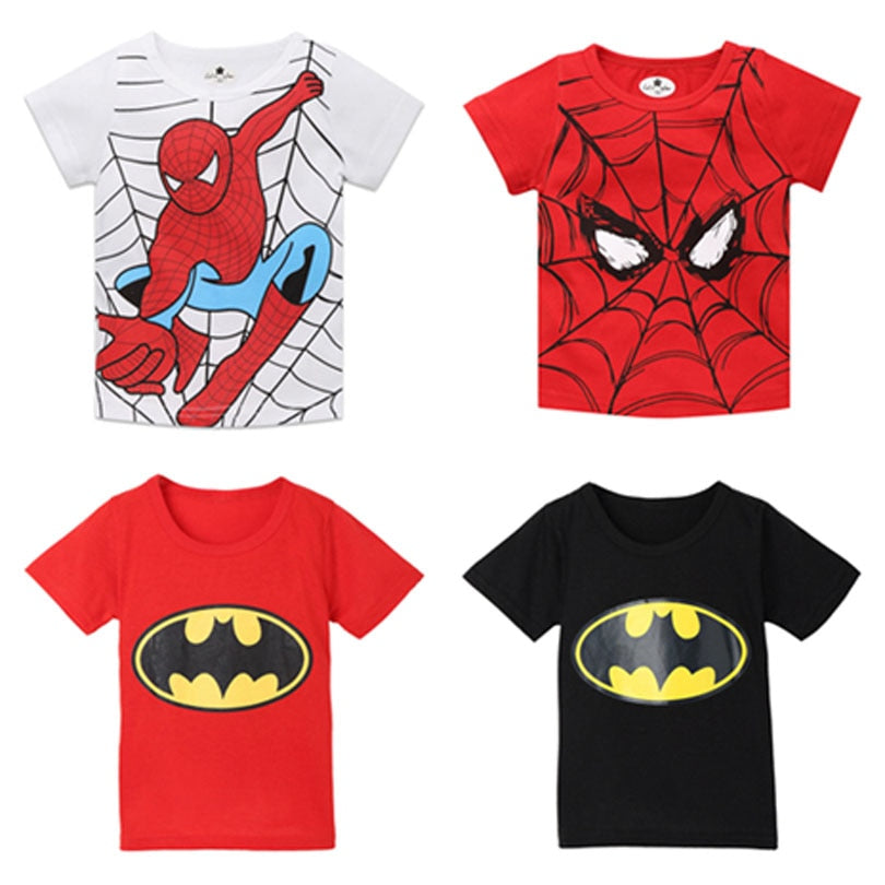 Spiderman Boys T Shirt Tshirt Kids Short Sleeves Super Hero Cartoon T-Shirts