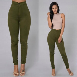 Europe and America Spring Boutique Women's Solid Color High Waist Tight Stretch Pencil Pants Candy Color Slim Wild Casual Jeans
