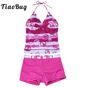 TiaoBug Kids Teens Hot Pink/Blue Heart Print Swimsuit Children Girls Halter Top Shorts Tankini Bikini Set Bathing Suit Beachwear