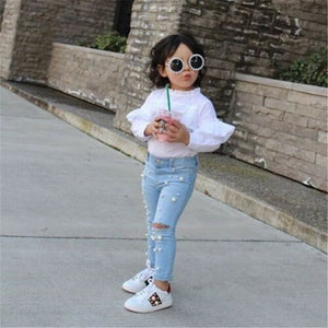 Kid Girl Summer Casual jeans Shredded Hole Jeans Denim Pants Elastic Trousers Baby Jean Infant Clothing