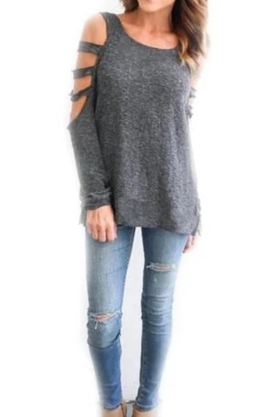 Womens Cut Shoulder Long Sleeve Top